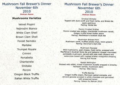 Pelican Pub & Brewery Mushroom Fall Brewer's Dinner Menu